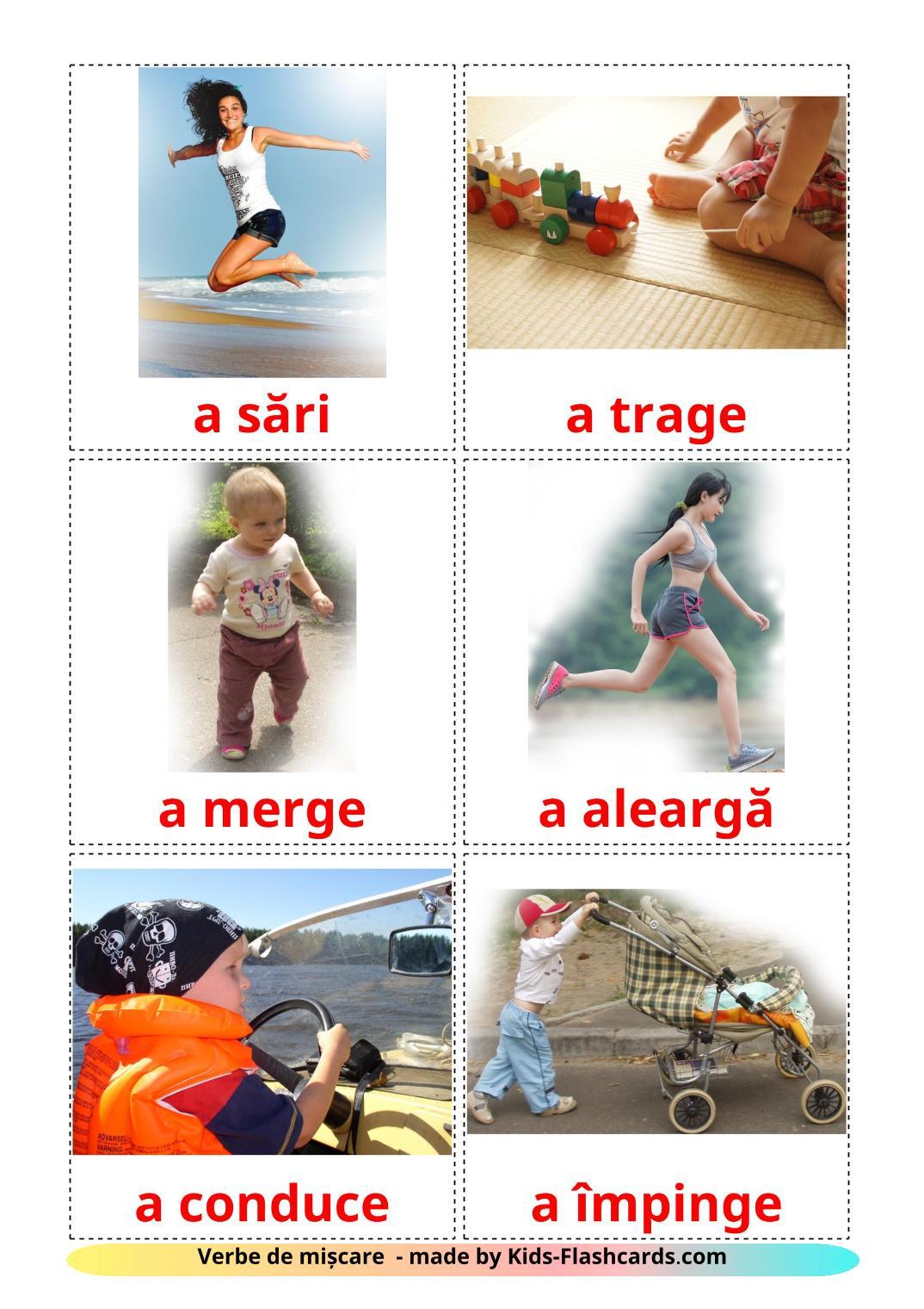 Movement verbs - 22 Free Printable romanian Flashcards