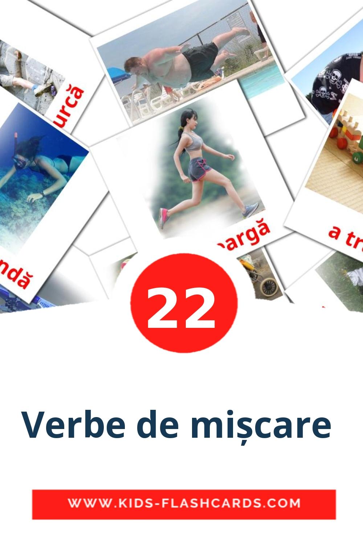 22 Verbe de mișcare  Picture Cards for Kindergarden in romanian