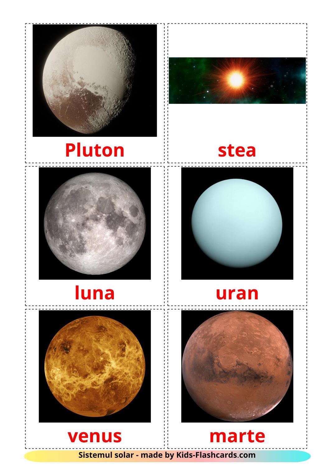 Solar System - 20 Free Printable romanian Flashcards