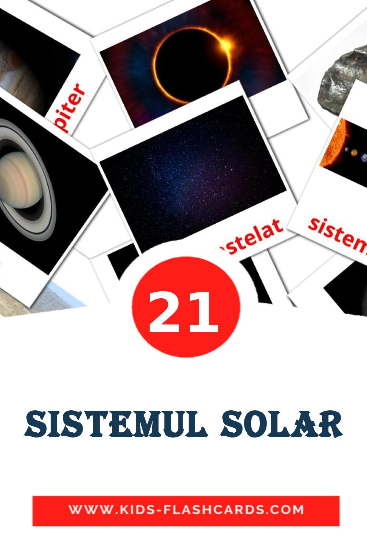 20 Sistemul solar Picture Cards for Kindergarden in romanian
