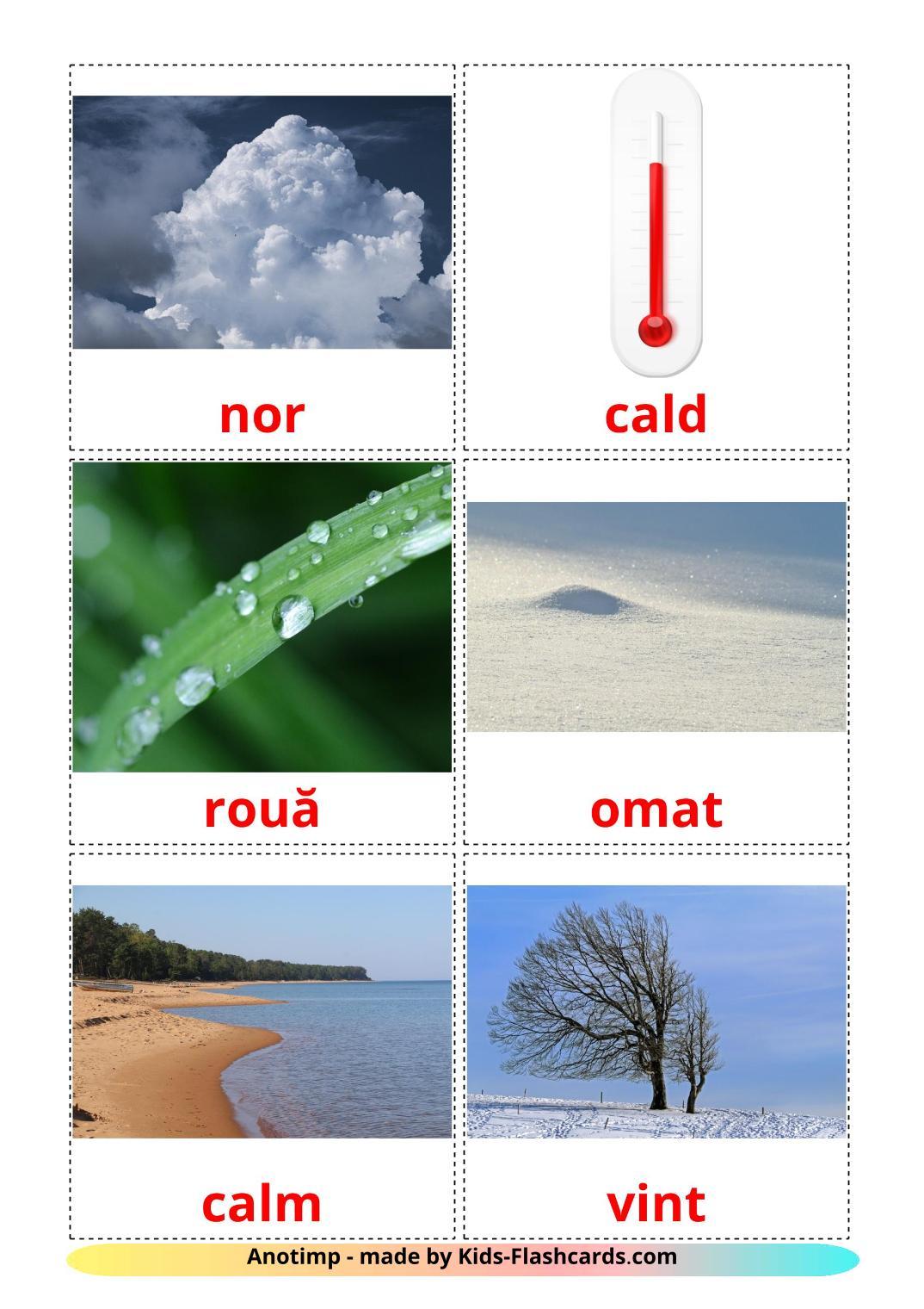 Weather - 31 Free Printable romanian Flashcards