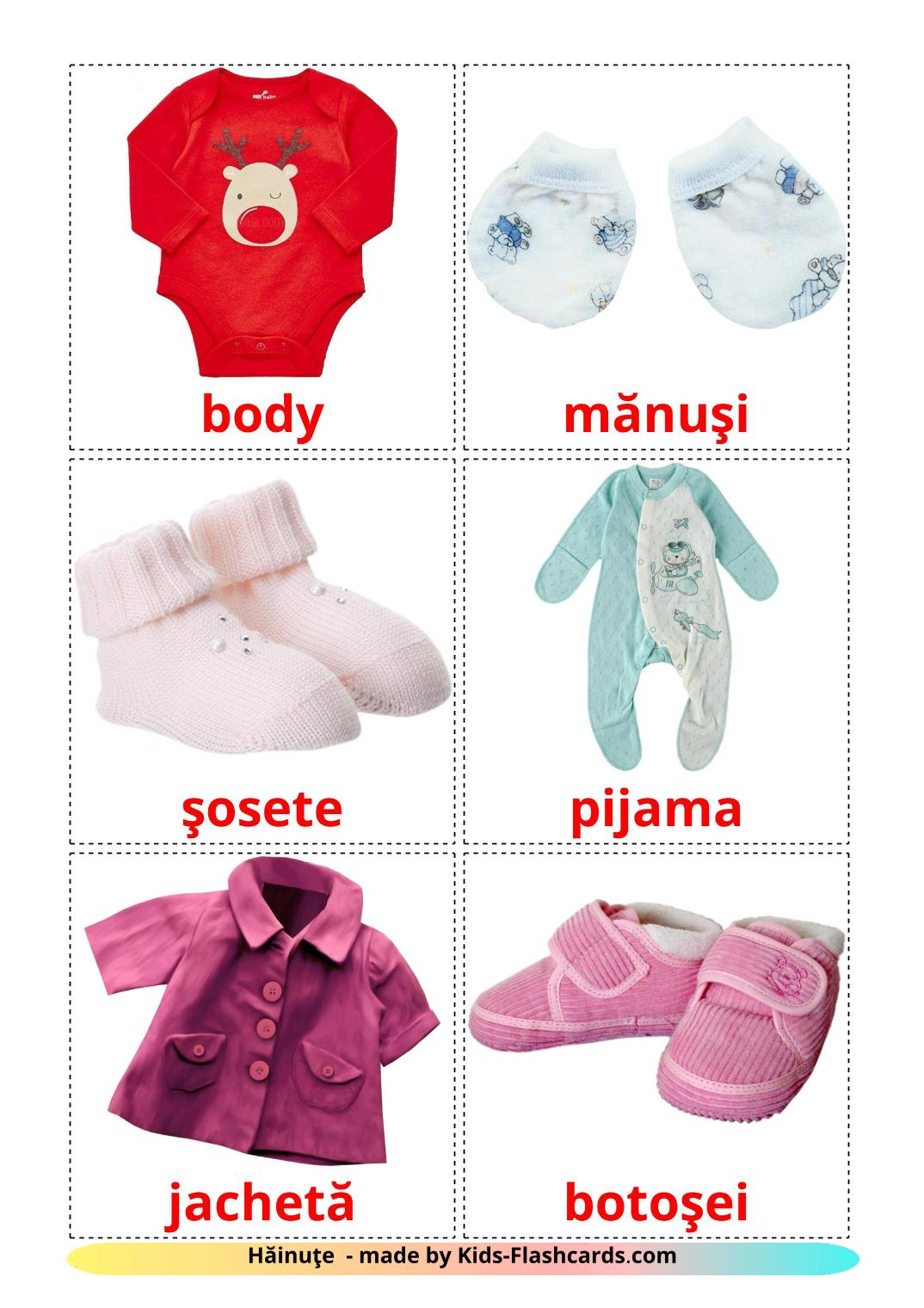Baby clothes - 12 Free Printable romanian Flashcards