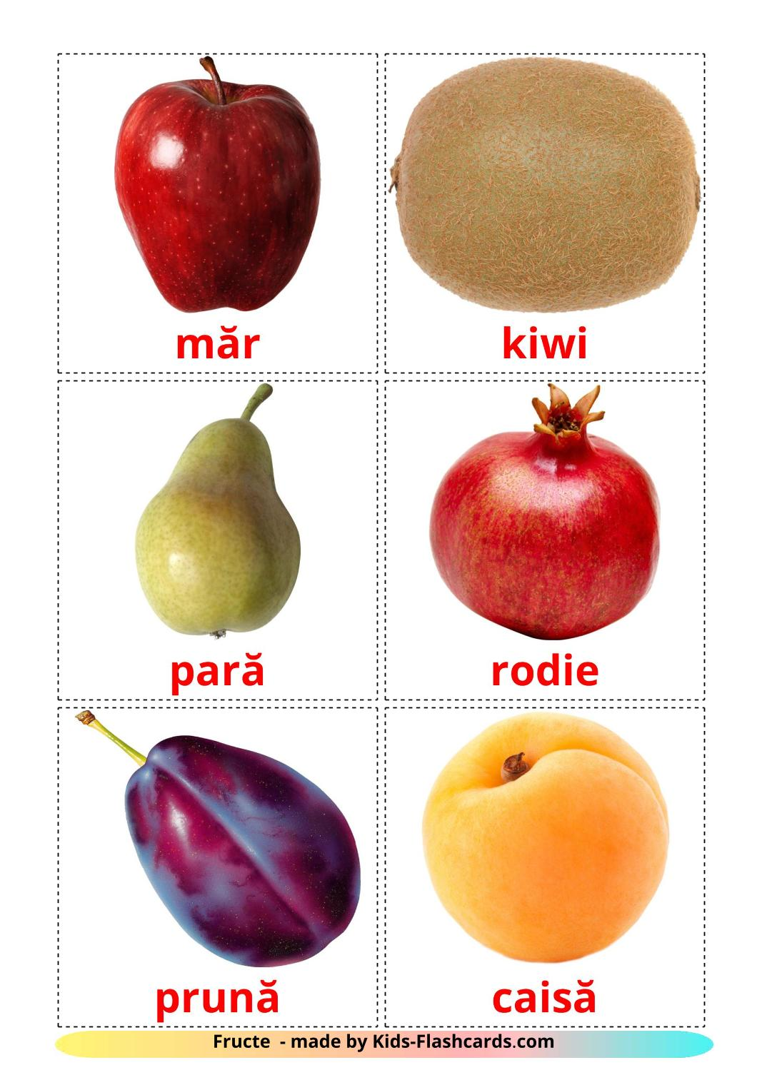 Fruits - 20 Free Printable romanian Flashcards