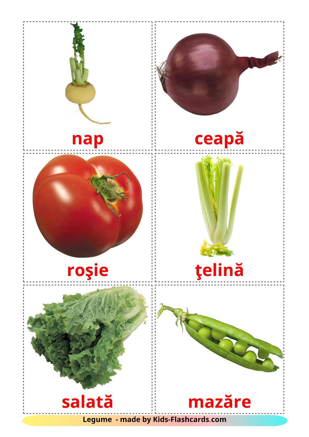 Vegetables - 29 Free Printable romanian Flashcards