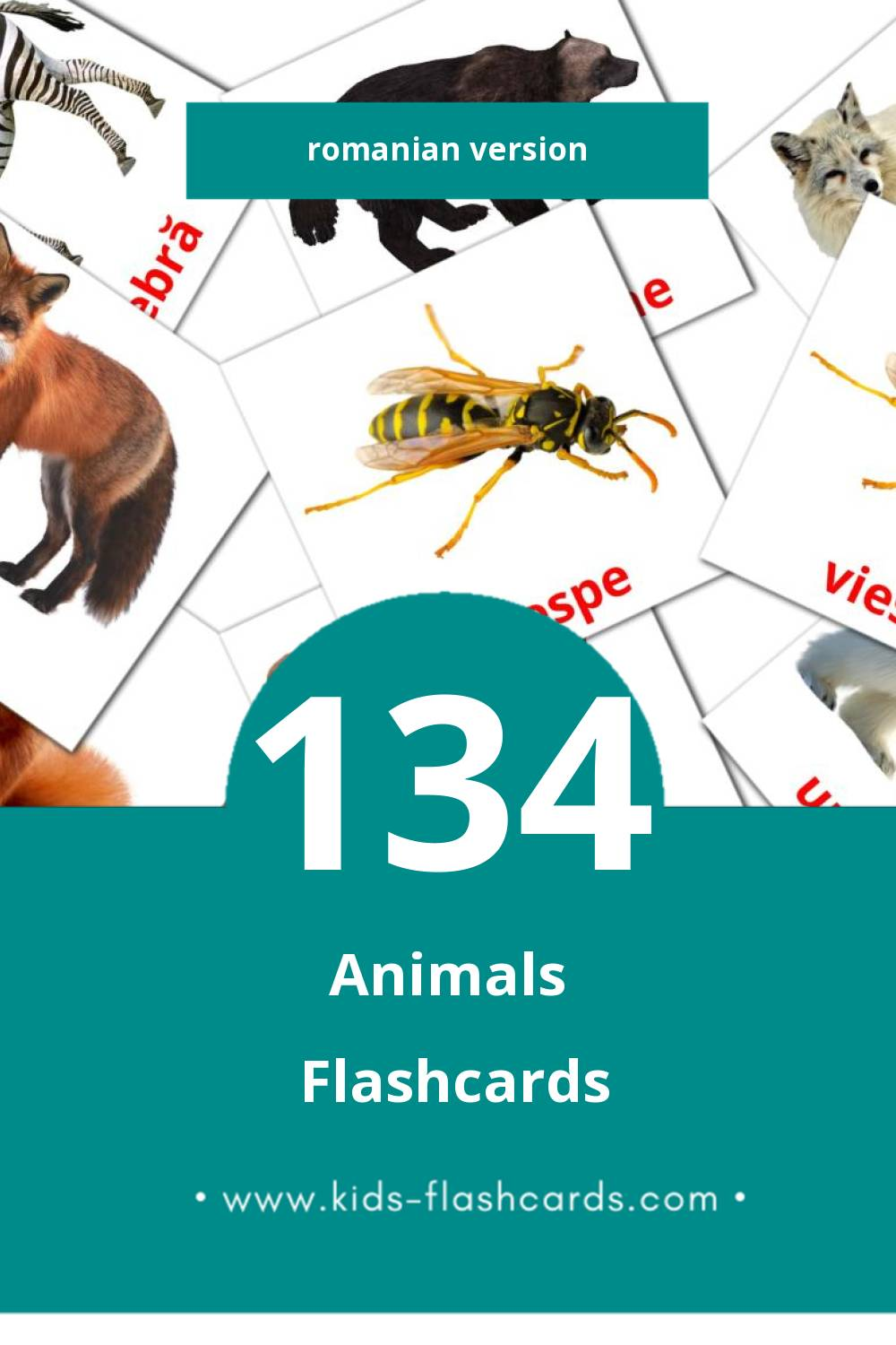 Visual Animale Flashcards for Toddlers (128 cards in Romanian)