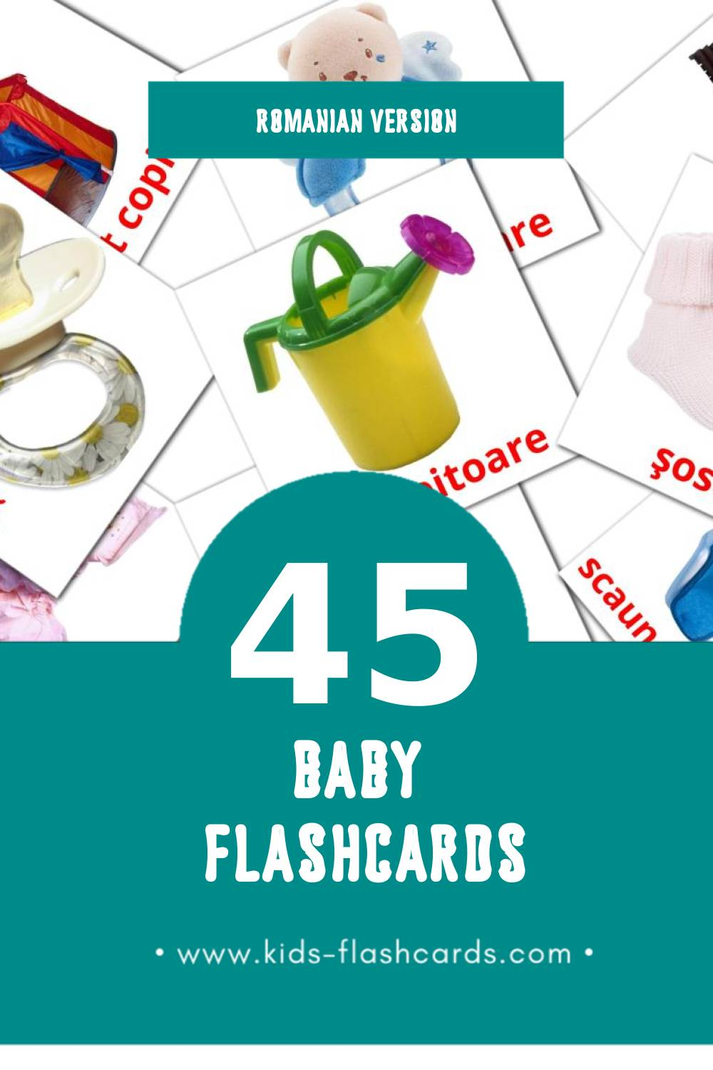 Visual Bebe Flashcards for Toddlers (45 cards in Romanian)