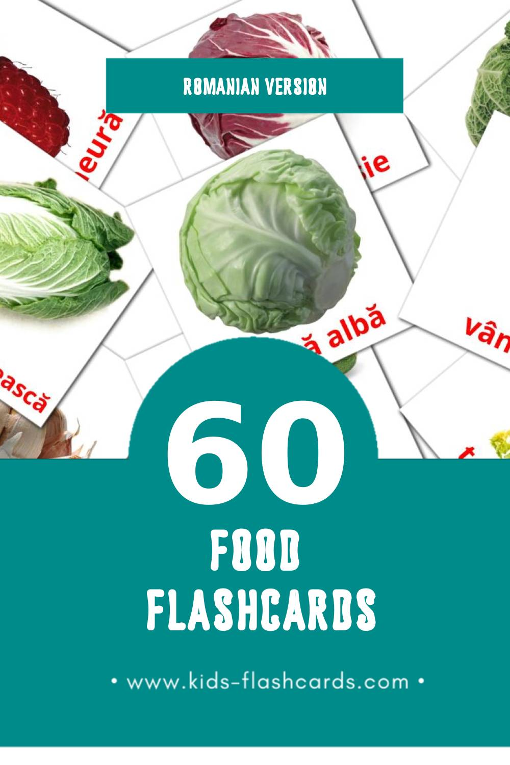 Visual Alimente Flashcards for Toddlers (60 cards in Romanian)
