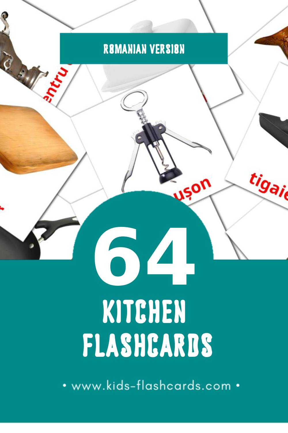 Visual Bucătărie  Flashcards for Toddlers (64 cards in Romanian)