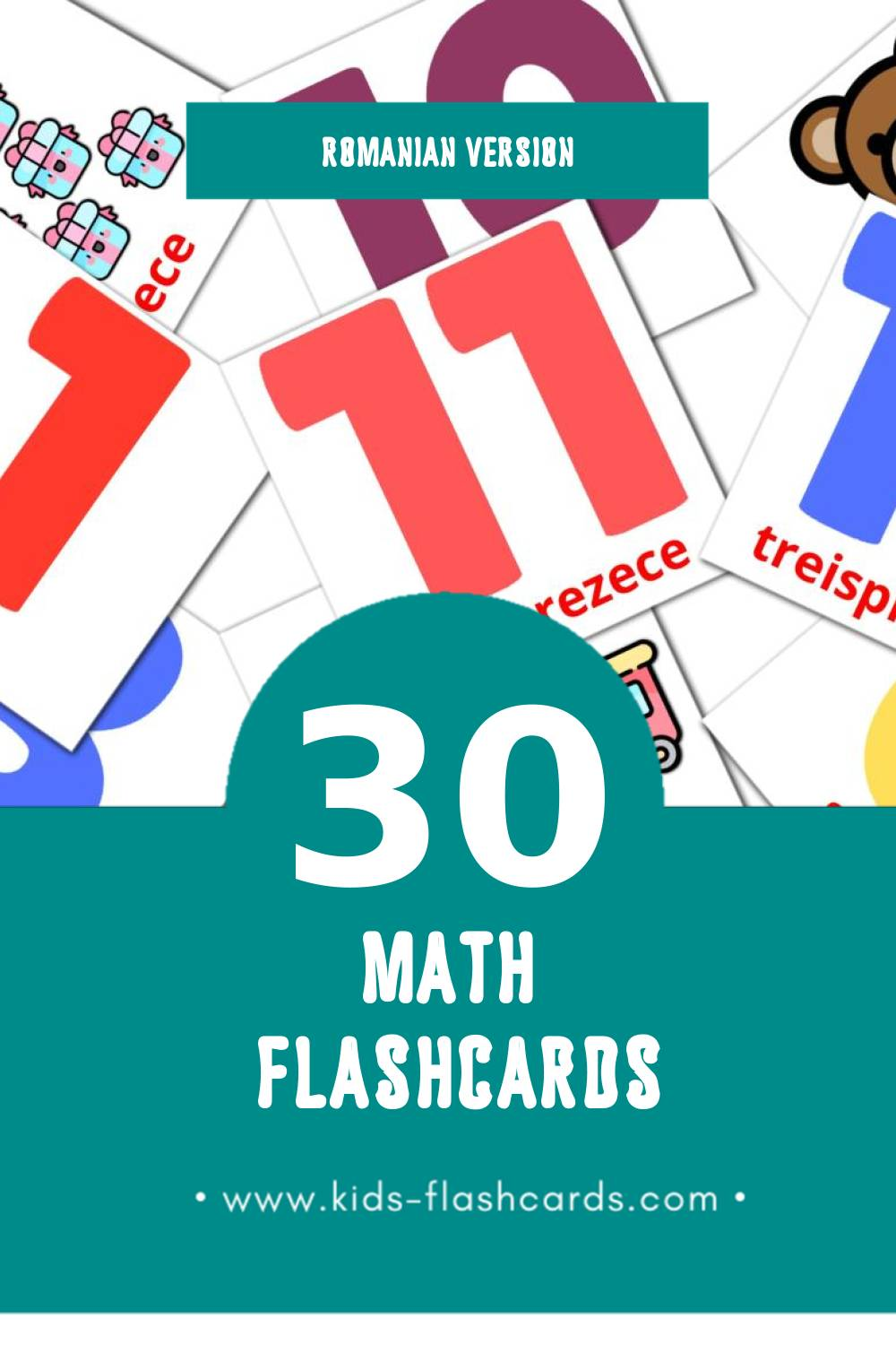 Visual Matematică Flashcards for Toddlers (30 cards in Romanian)