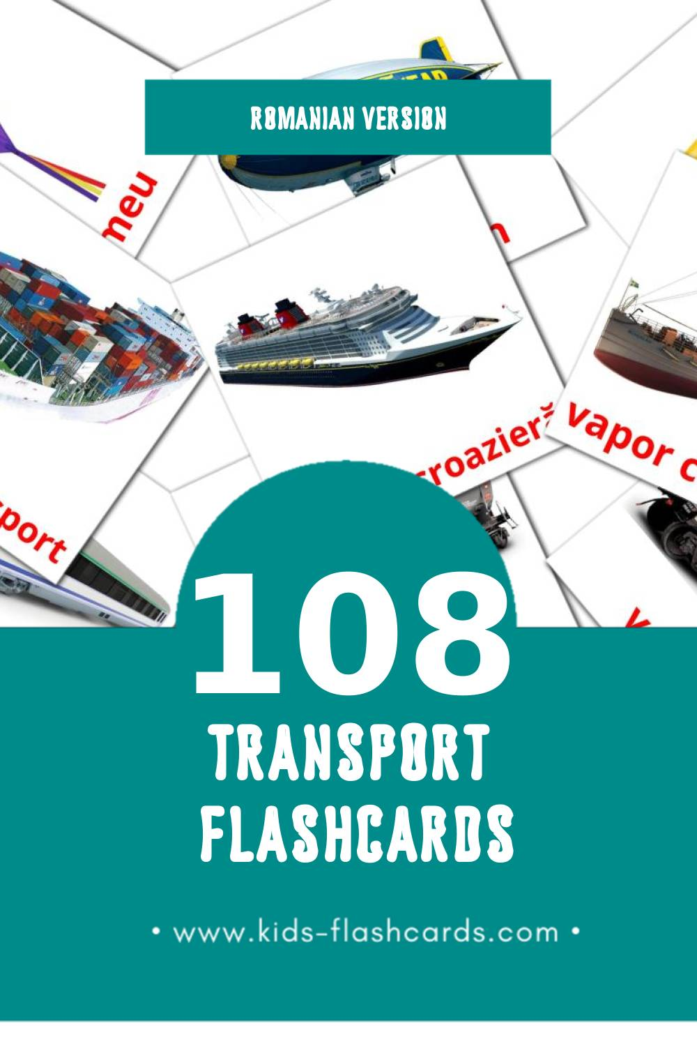 Visual Transport Flashcards for Toddlers (108 cards in Romanian)