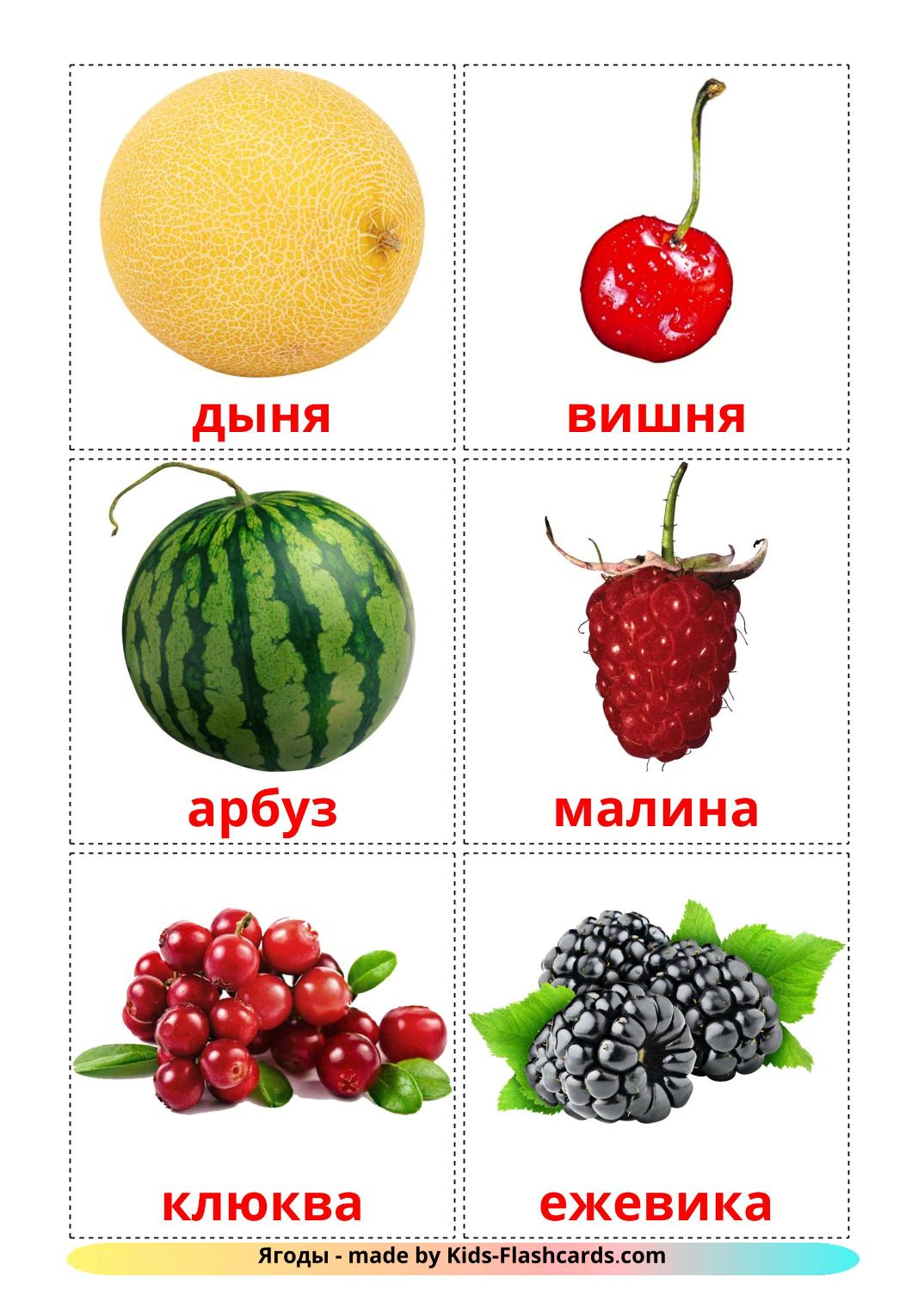 Berries - 11 Free Printable russian Flashcards