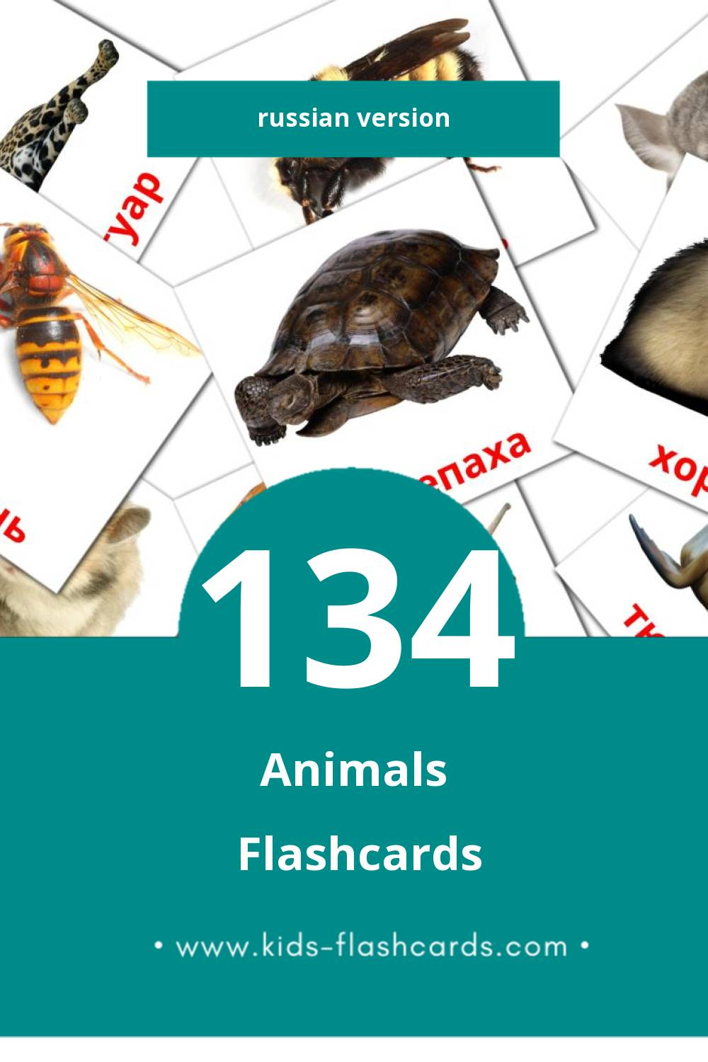 Visual Животные Flashcards for Toddlers (134 cards in Russian)