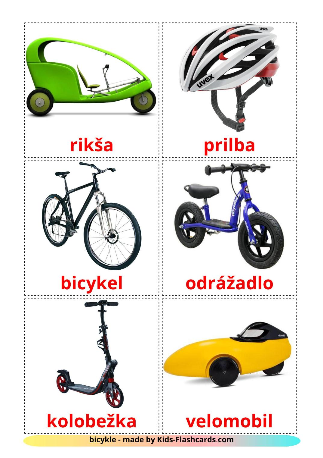 Bicycle transport - 16 Free Printable slovak Flashcards