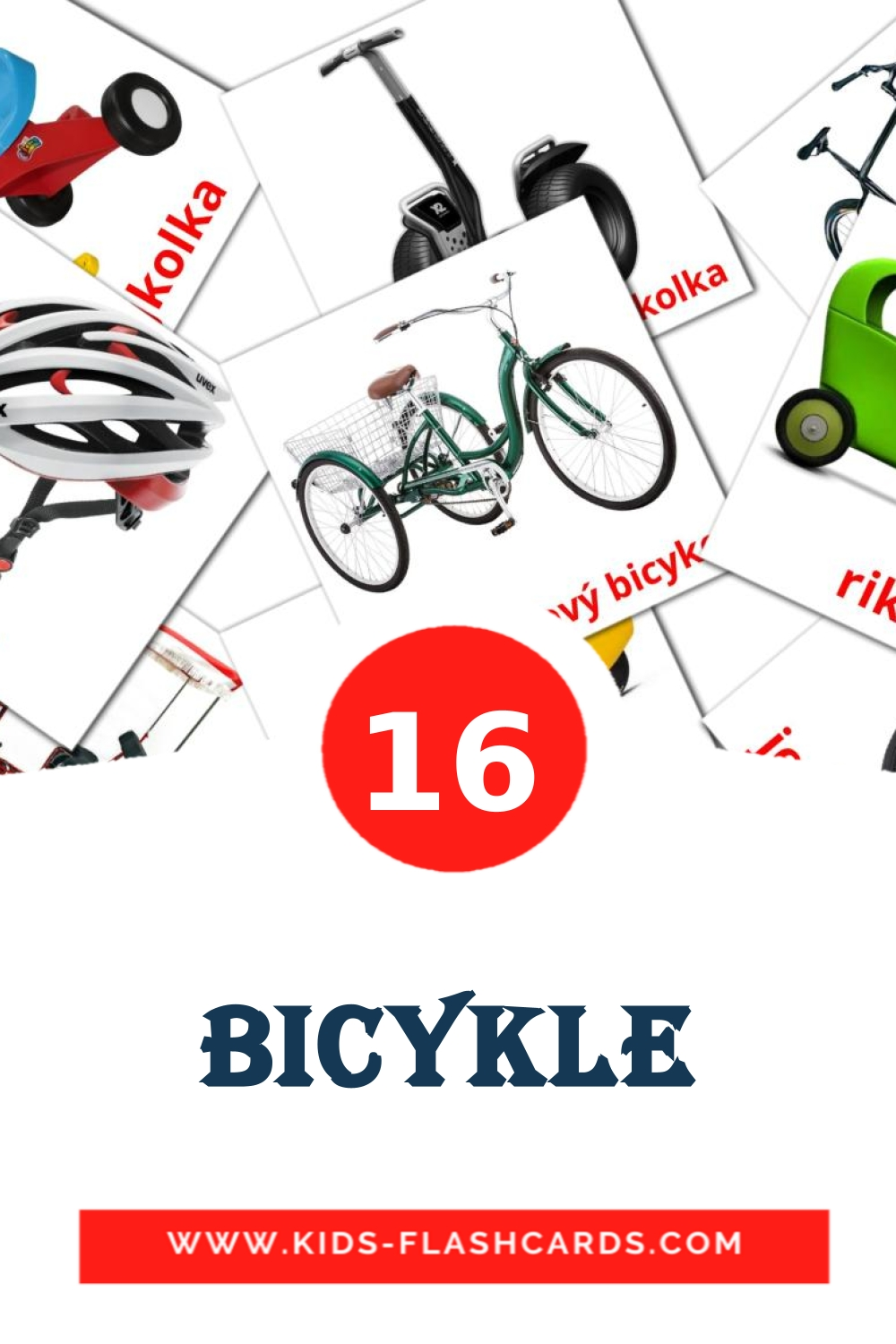 16 bicykle Picture Cards for Kindergarden in slovak