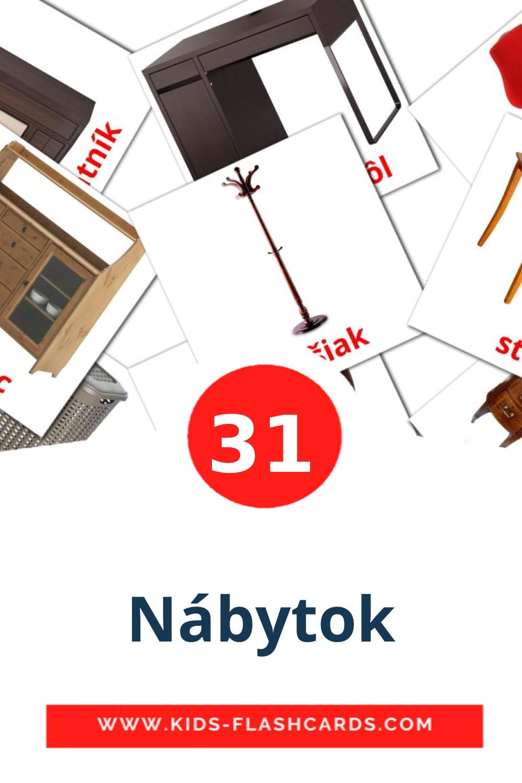 31 Nábytok Picture Cards for Kindergarden in slovak