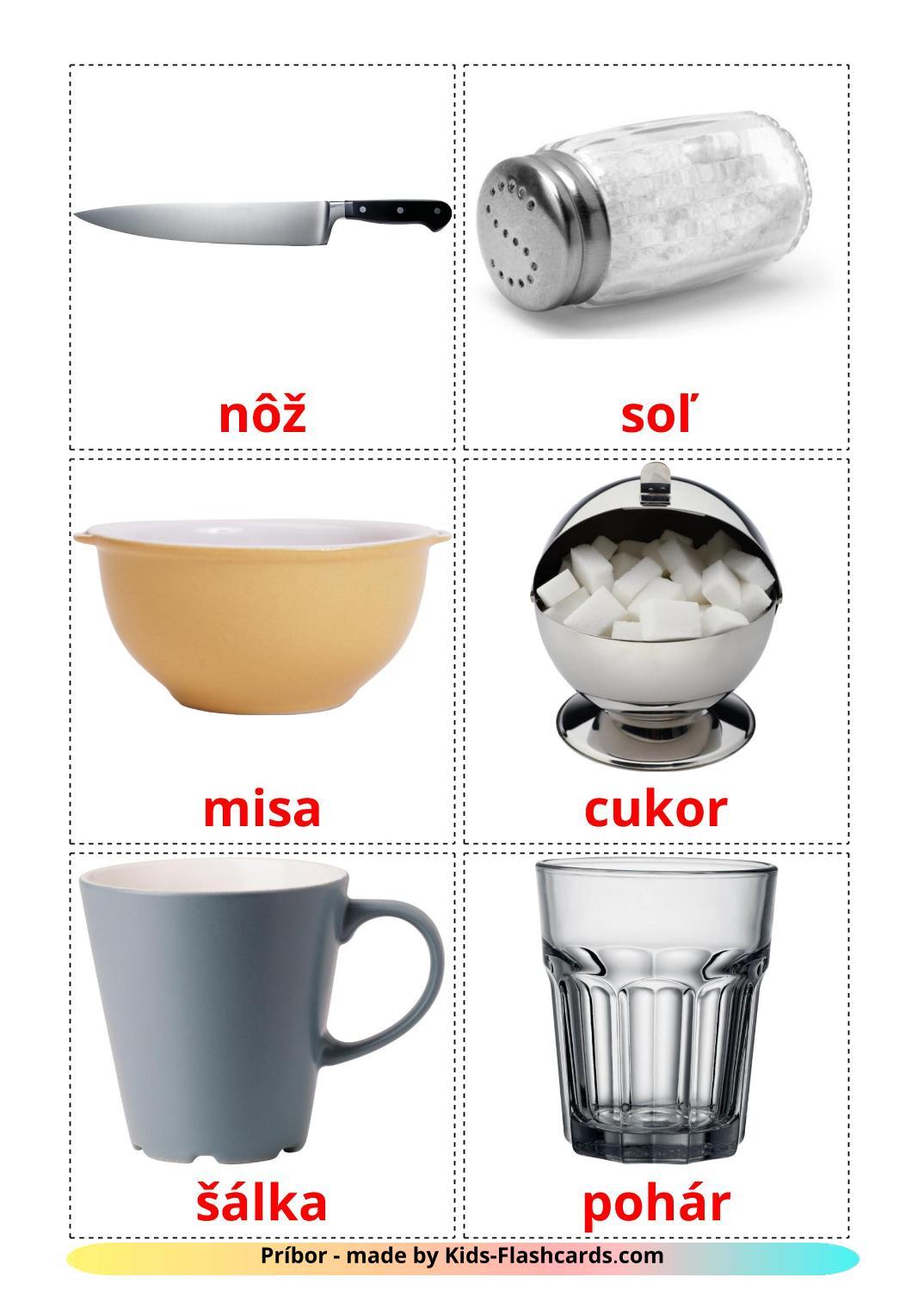 Crockery and cutlery - 29 Free Printable slovak Flashcards