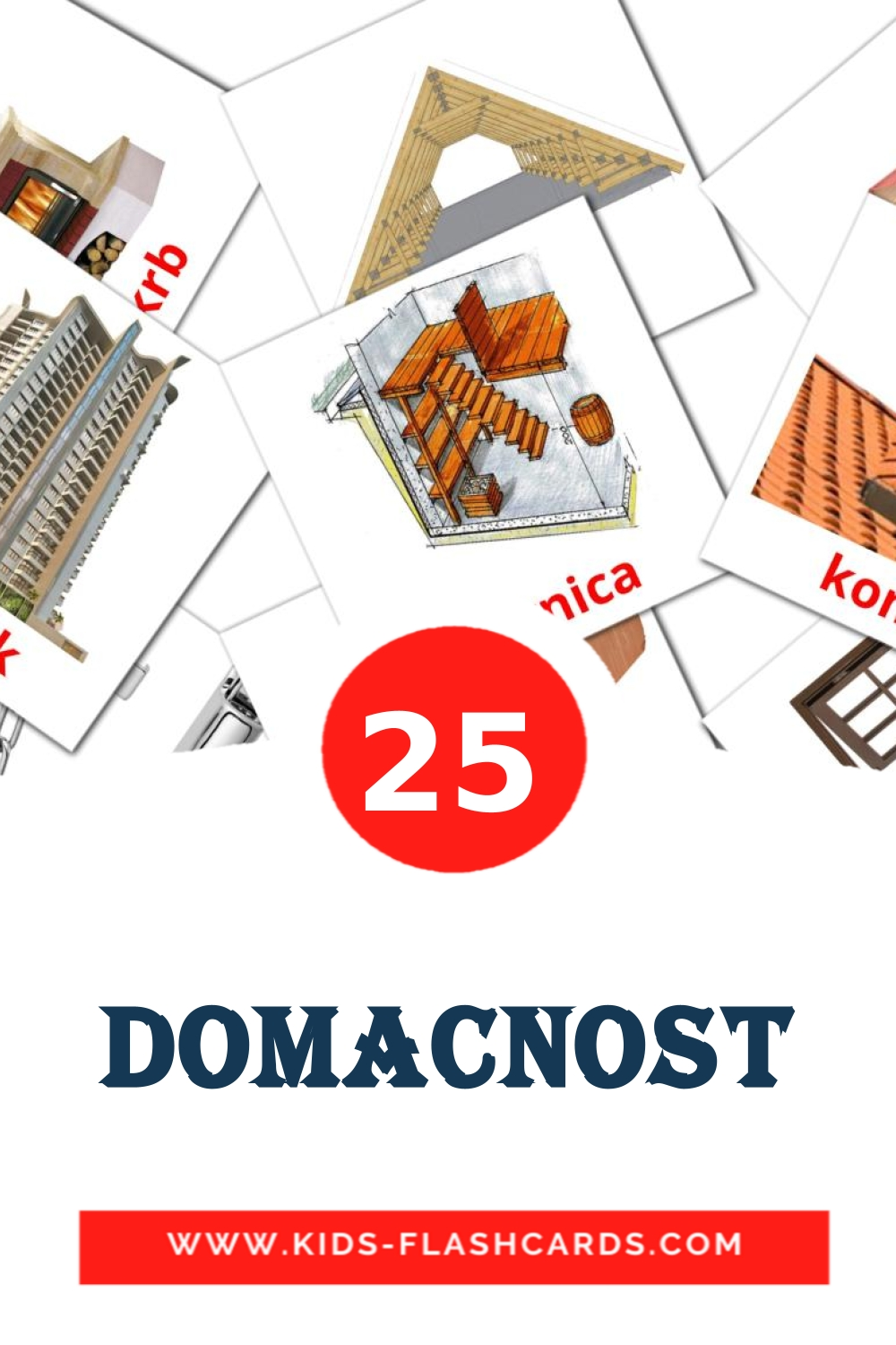 25 Domacnost Picture Cards for Kindergarden in slovak
