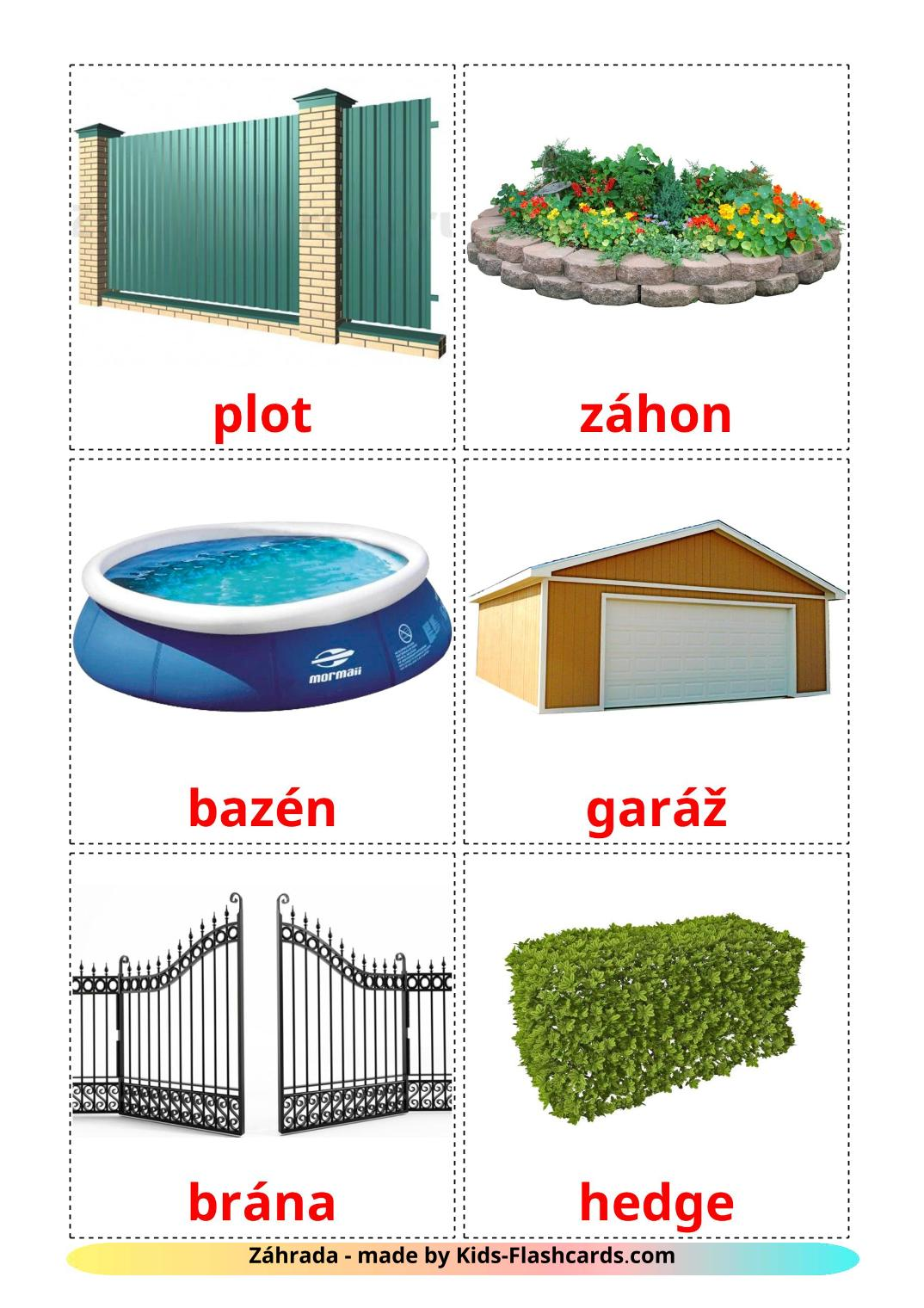 Garden - 18 Free Printable slovak Flashcards