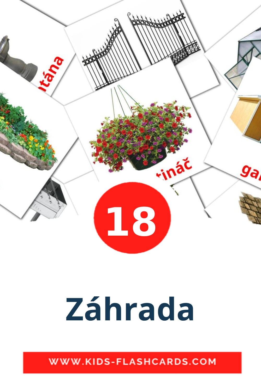 18 Záhrada Picture Cards for Kindergarden in slovak