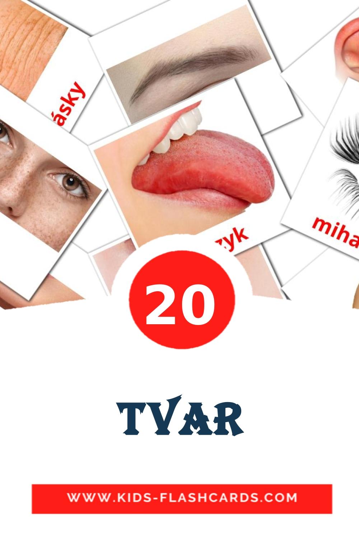 20 Tvar Picture Cards for Kindergarden in slovak