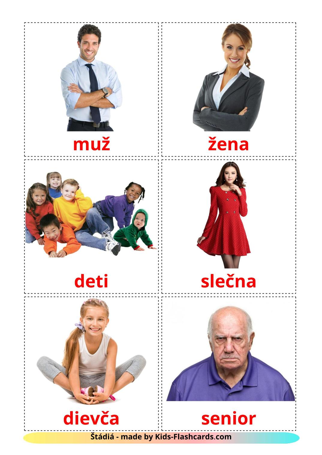 Stages - 12 Free Printable slovak Flashcards
