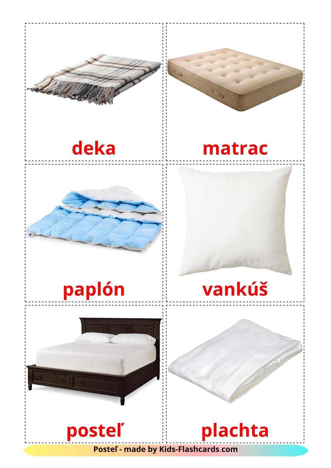 Bed - 15 Free Printable slovak Flashcards