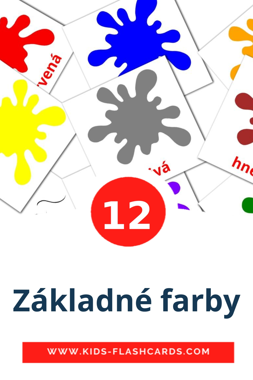 12 Základné farby Picture Cards for Kindergarden in slovak