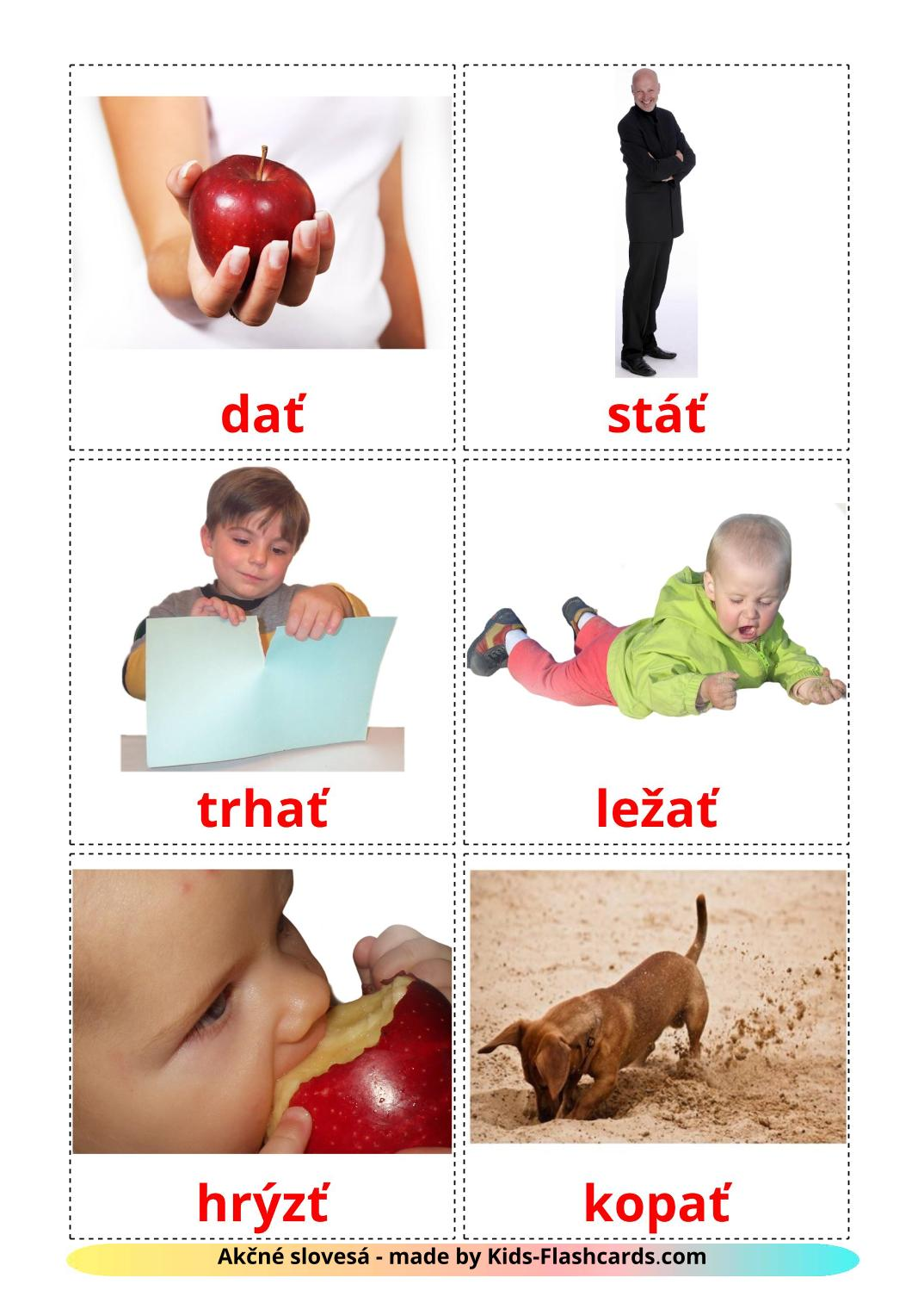 Action verbs - 55 Free Printable slovak Flashcards