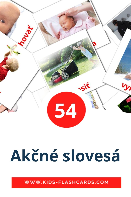 55 Akčné slovesá Picture Cards for Kindergarden in slovak