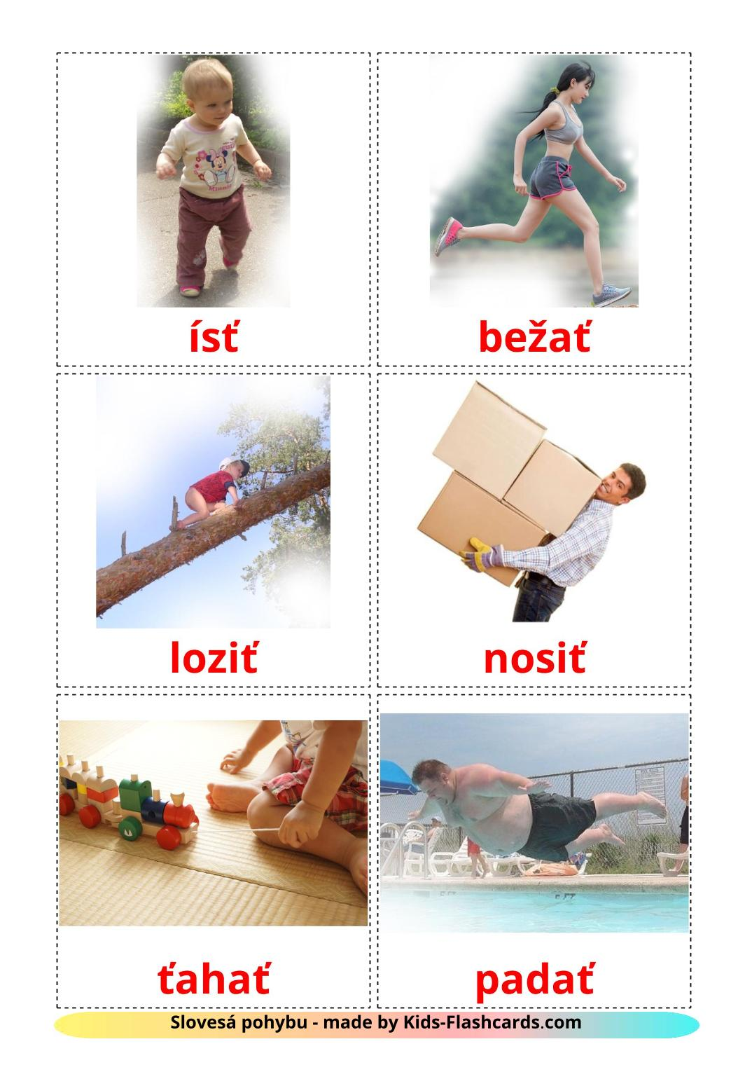 Movement verbs - 22 Free Printable slovak Flashcards