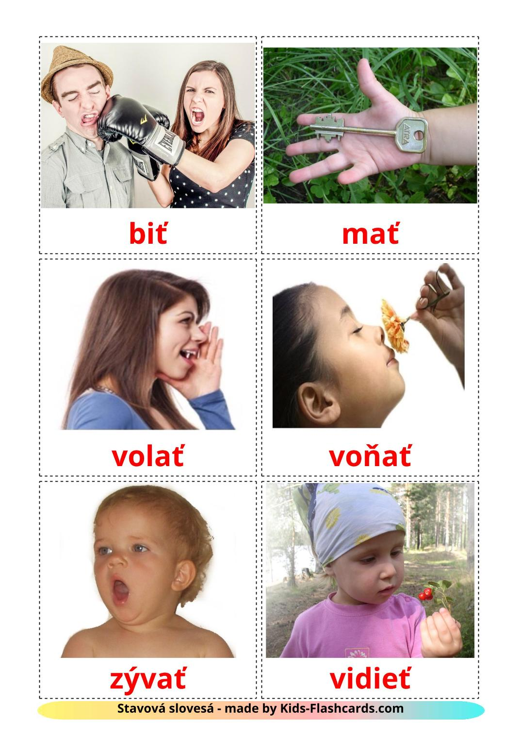 State verbs - 23 Free Printable slovak Flashcards