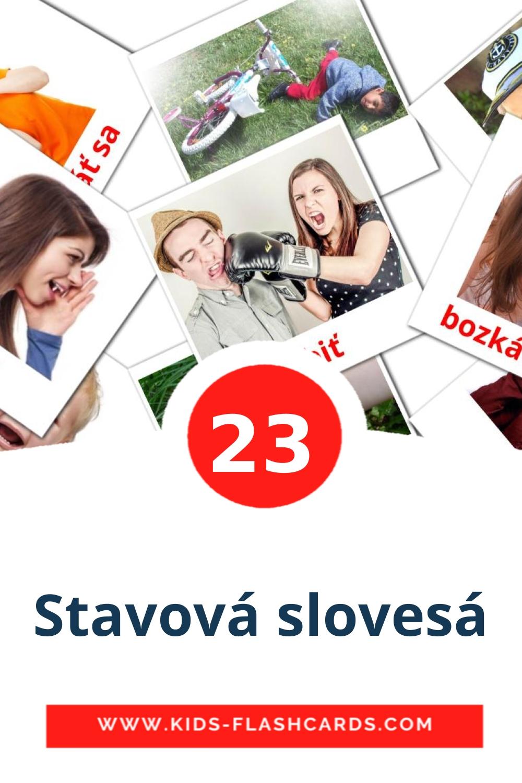 23 Stavová slovesá Picture Cards for Kindergarden in slovak