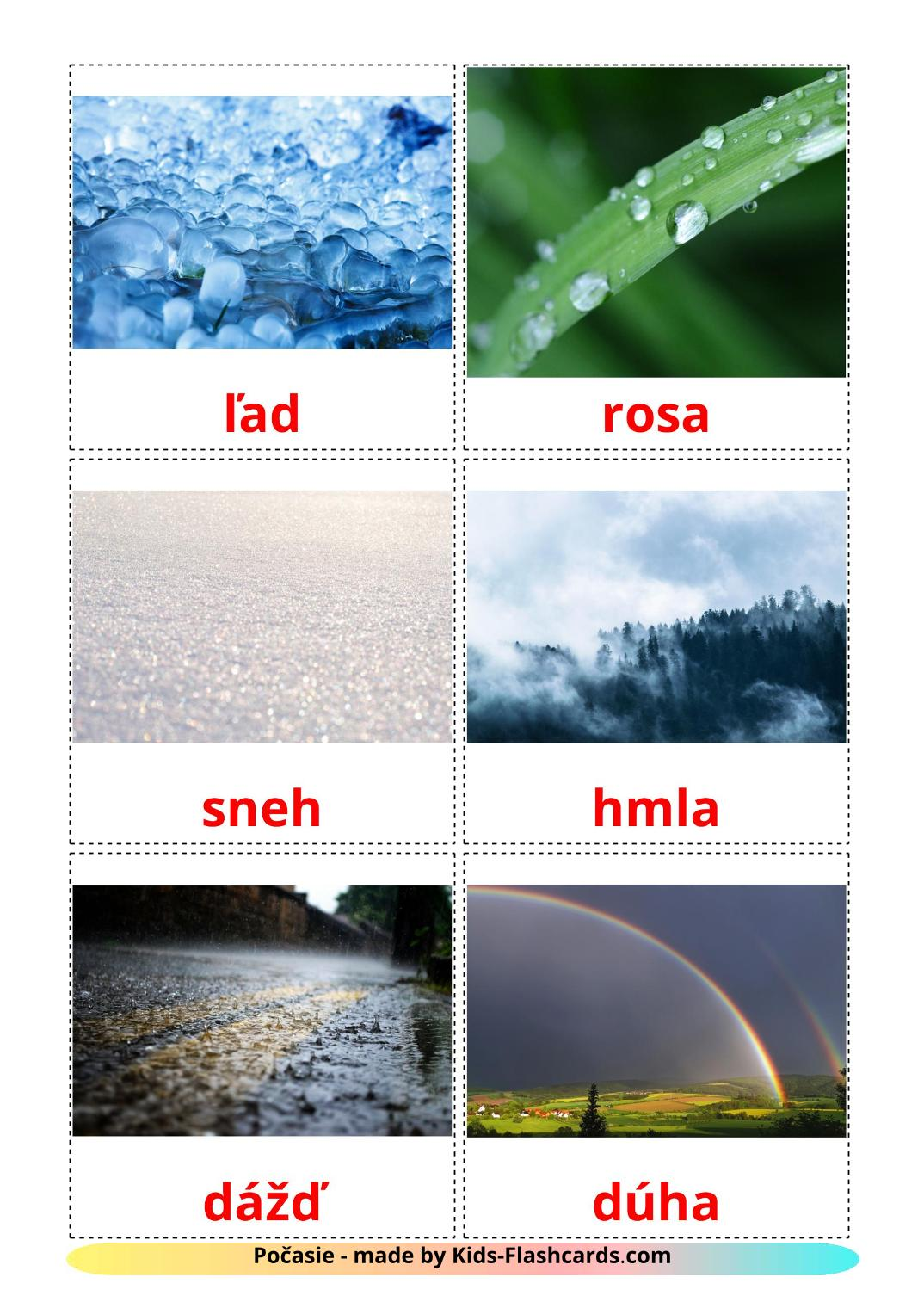 Weather picture cards for Kindergarden in slovak