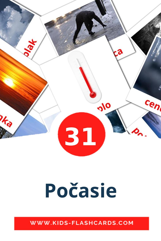 31 Počasie Picture Cards for Kindergarden in slovak