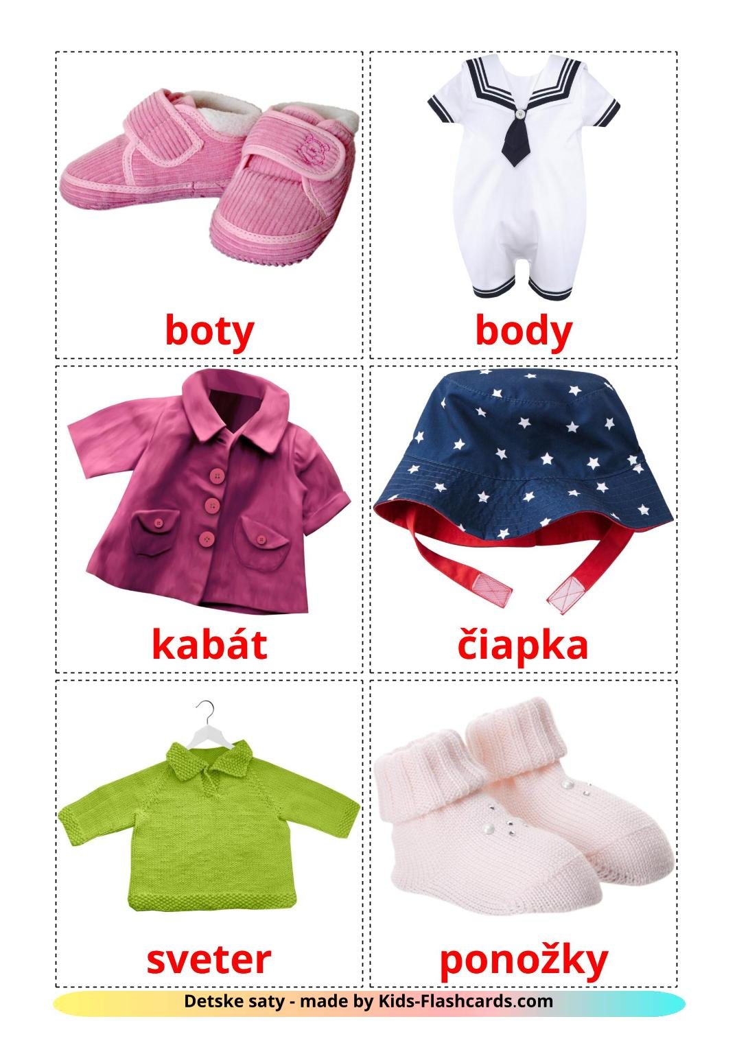 Baby clothes - 12 Free Printable slovak Flashcards