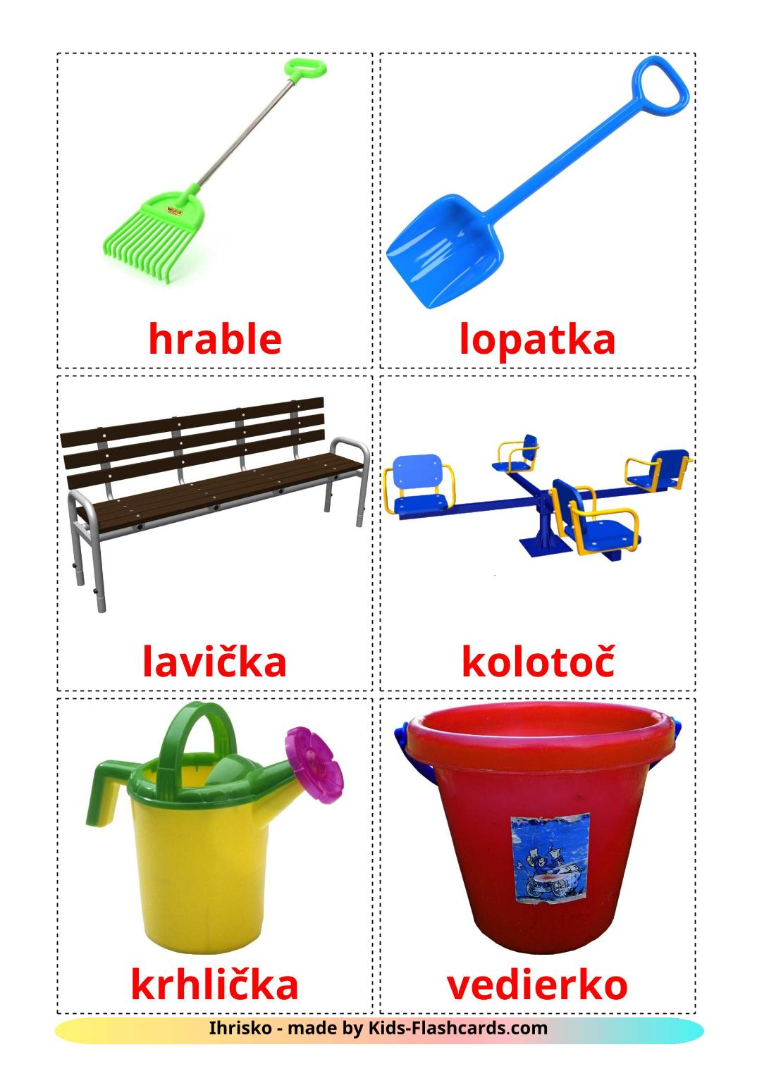 Playground picture cards for Kindergarden in slovak