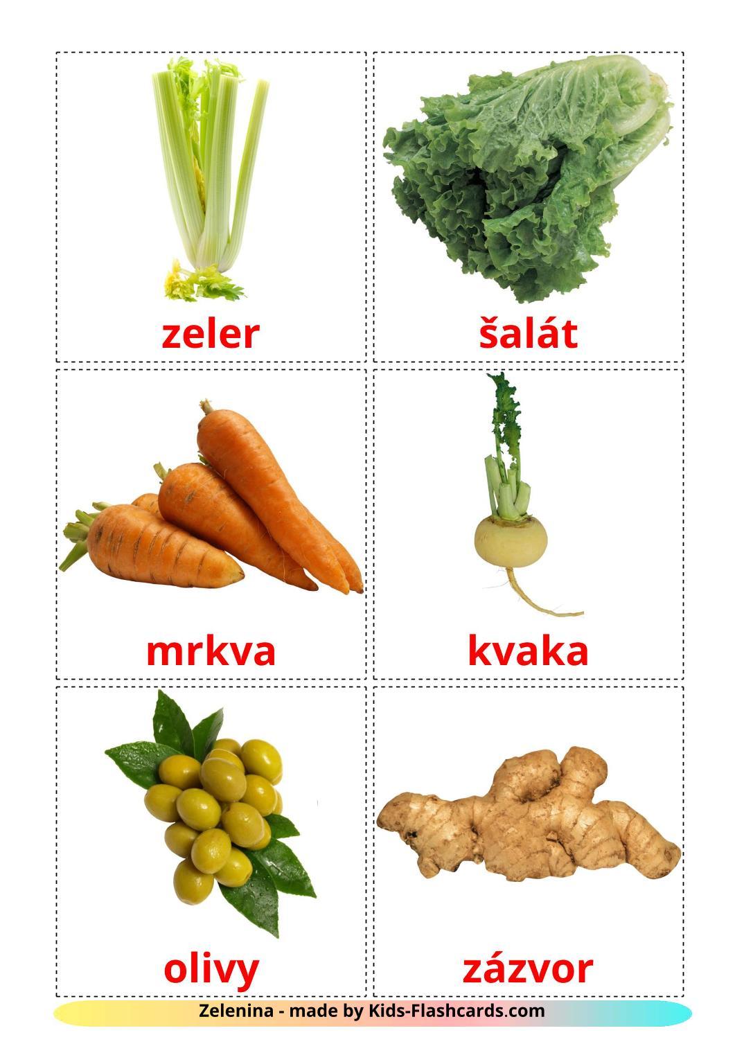 Vegetables - 29 Free Printable slovak Flashcards