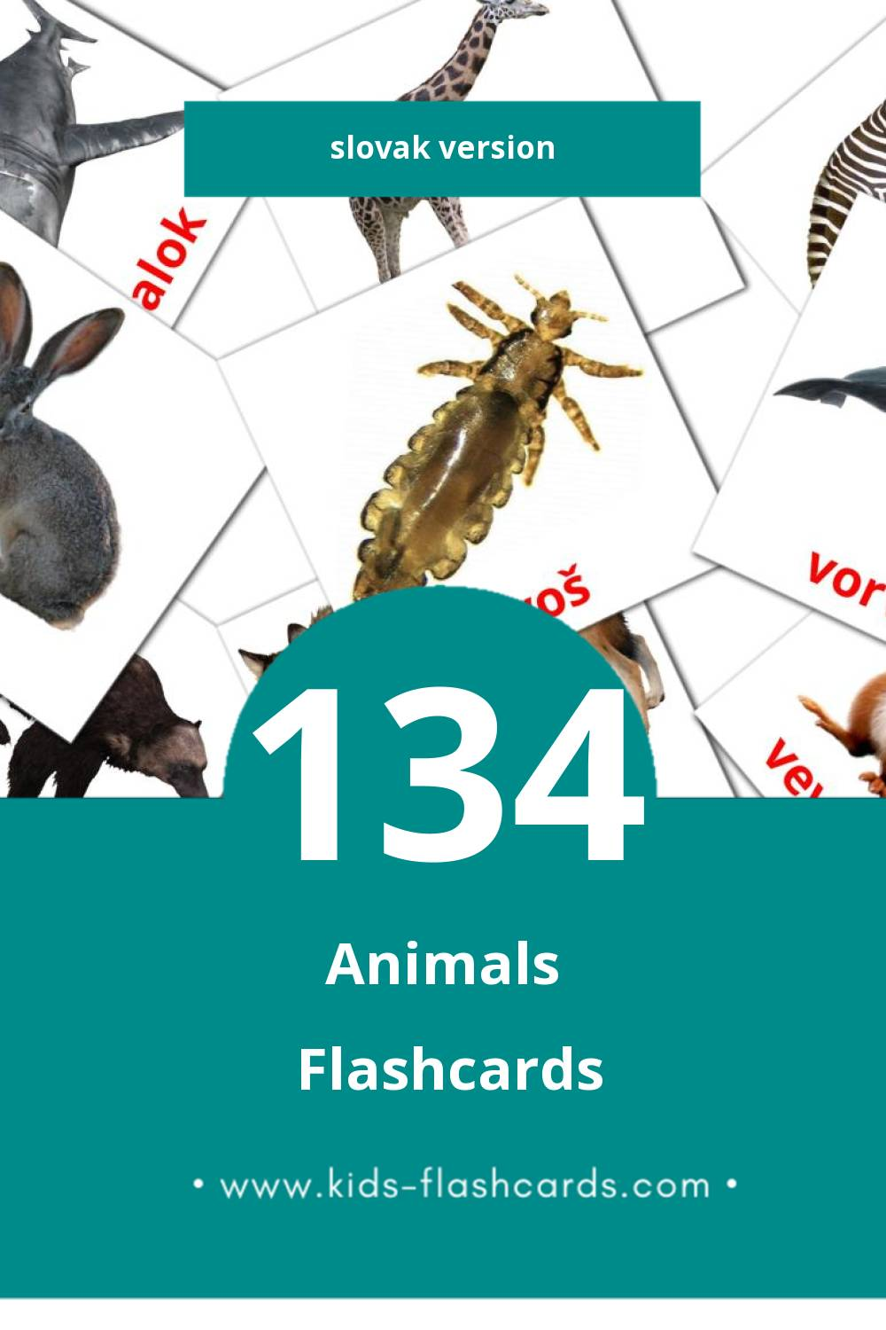 Visual Zvieratá Flashcards for Toddlers (134 cards in Slovak)