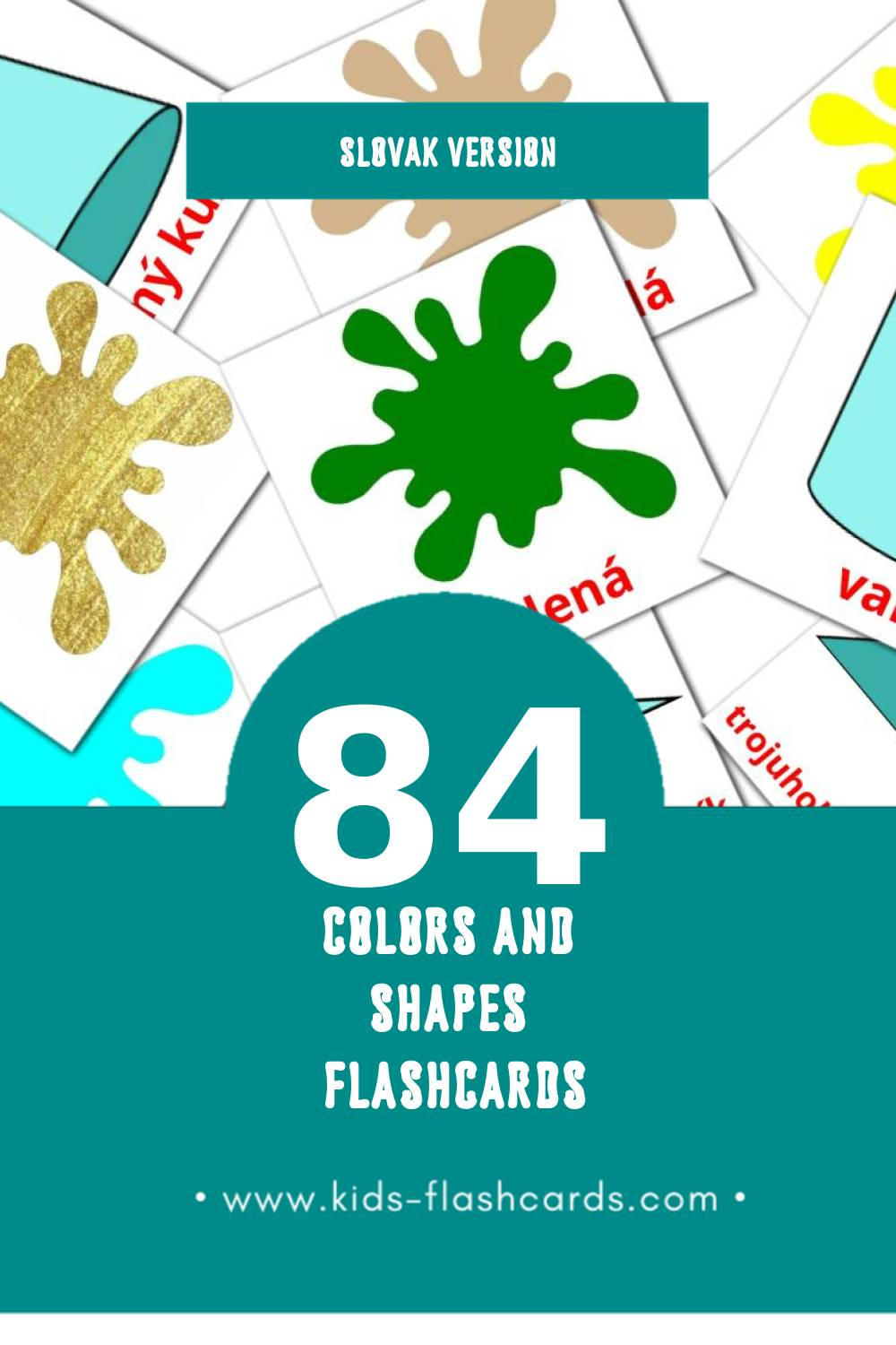 Visual Farby a tvary Flashcards for Toddlers (84 cards in Slovak)