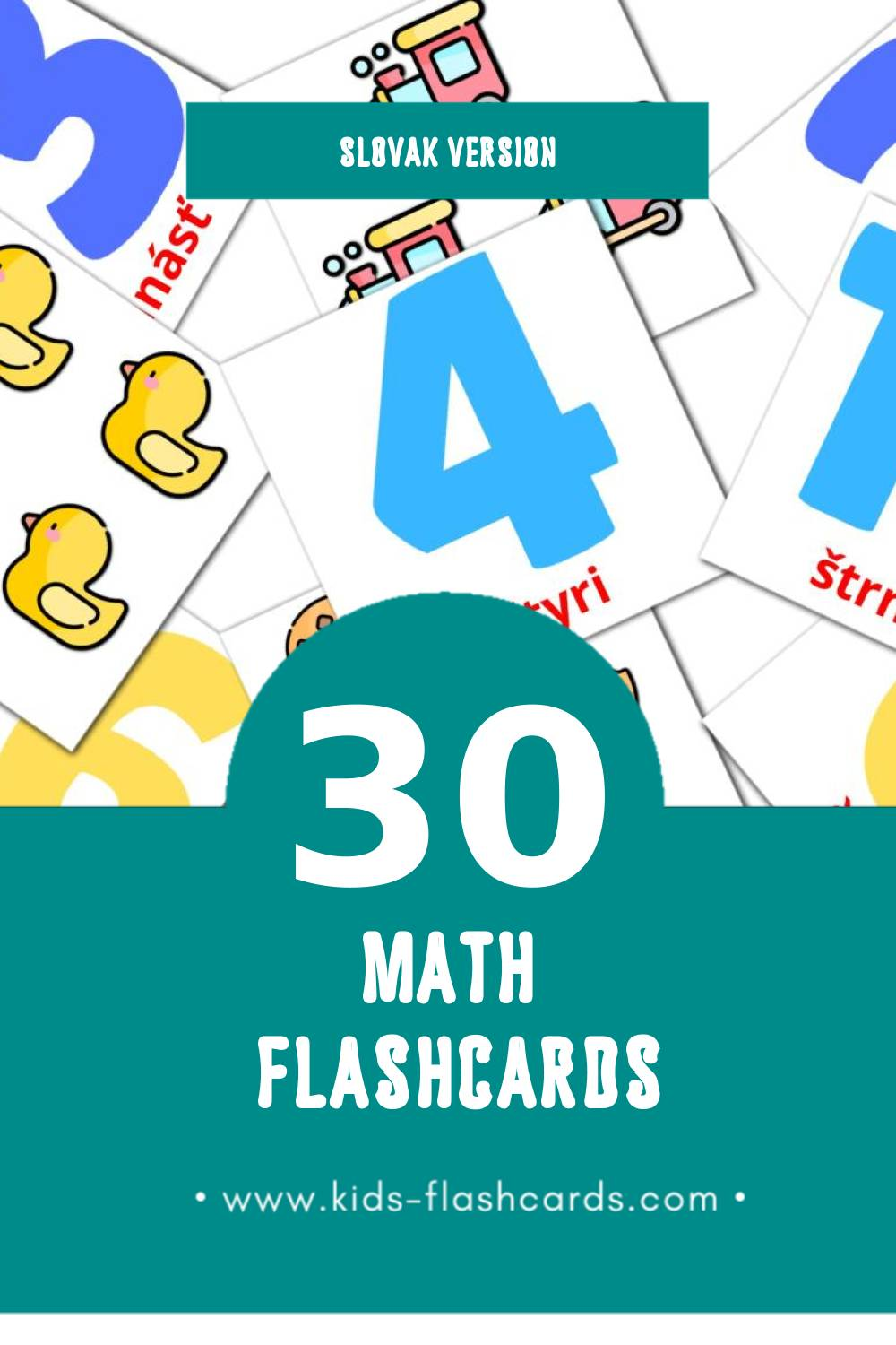 Visual Matematika Flashcards for Toddlers (30 cards in Slovak)