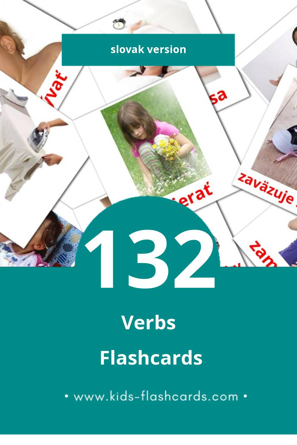 Visual Slovesá Flashcards for Toddlers (133 cards in Slovak)