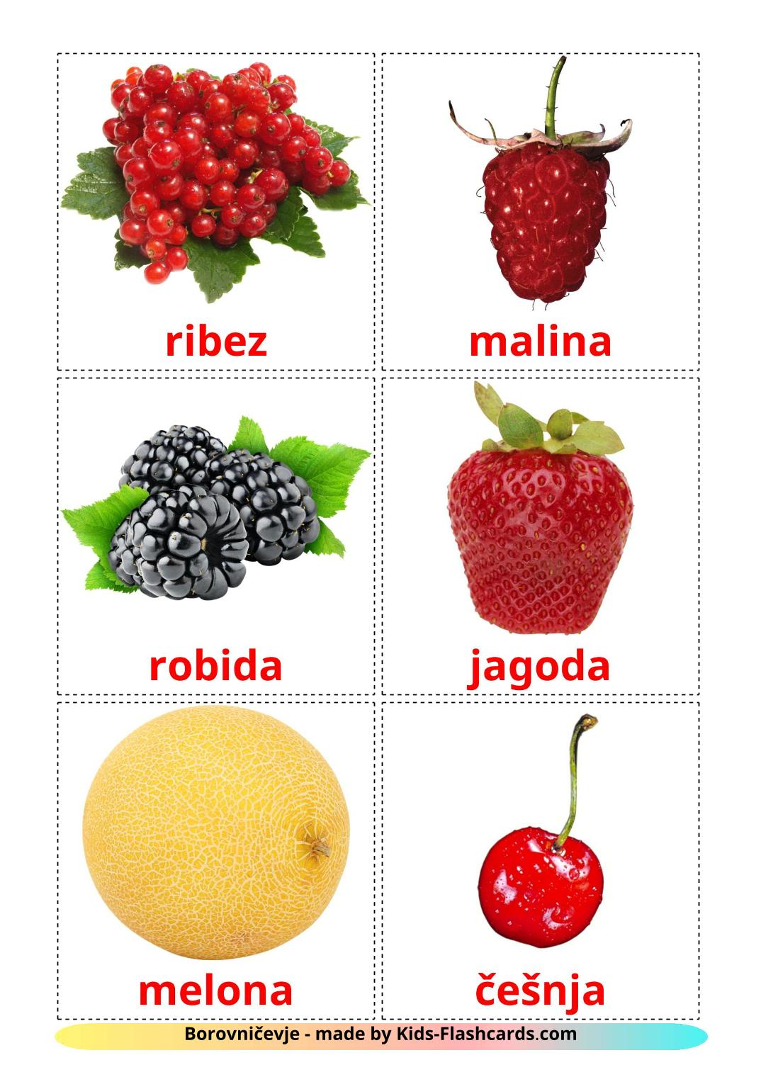 Berries - 11 Free Printable slovenian Flashcards