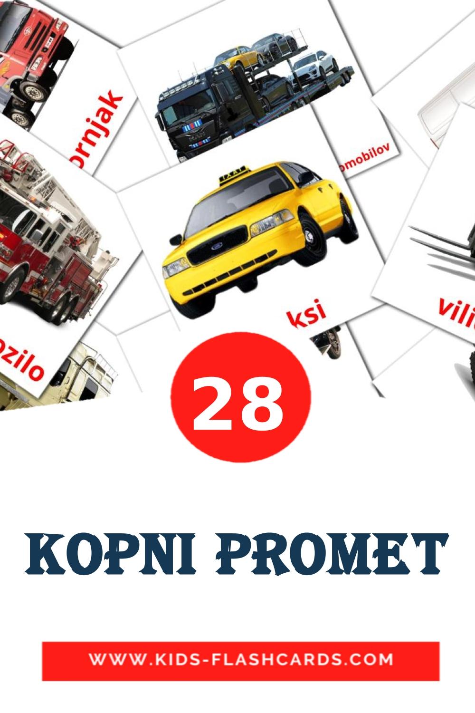 28 Kopni promet Picture Cards for Kindergarden in slovenian