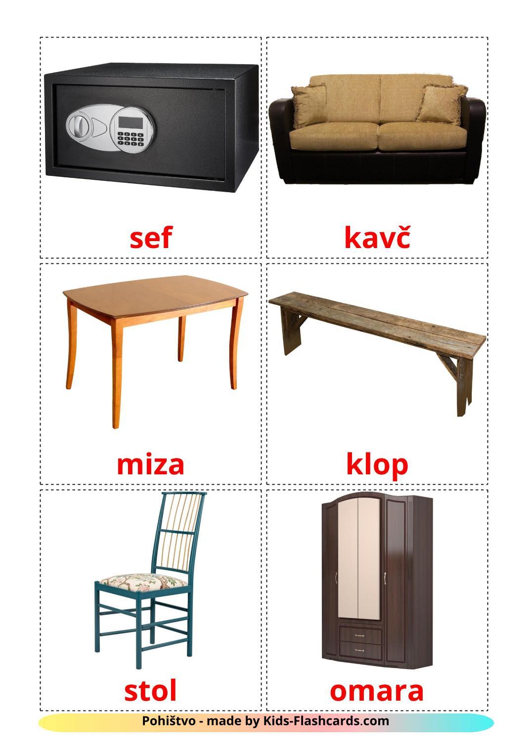 Furniture - 31 Free Printable slovenian Flashcards