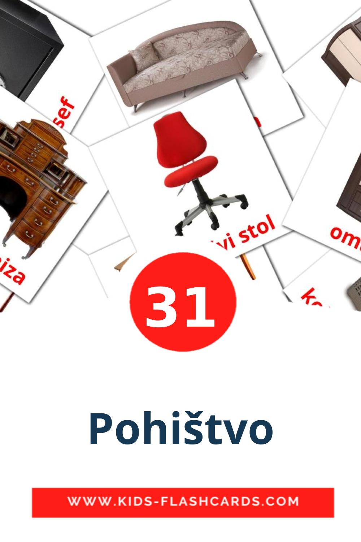 31 Pohištvo Picture Cards for Kindergarden in slovenian