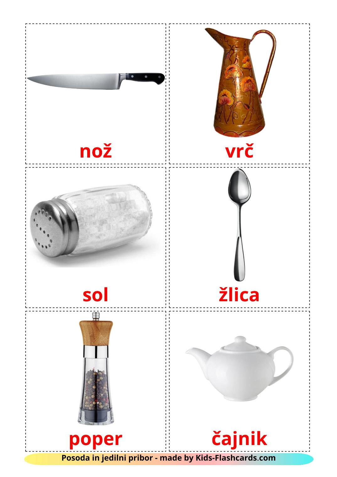 Crockery and cutlery - 29 Free Printable slovenian Flashcards