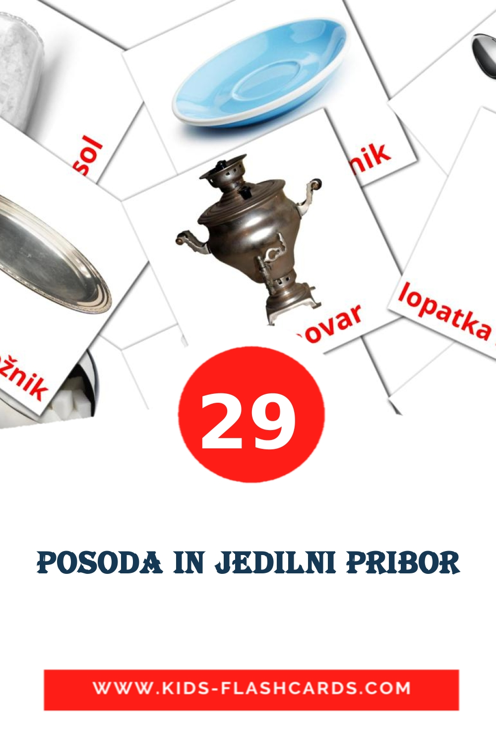 29 Posoda in jedilni pribor Picture Cards for Kindergarden in slovenian
