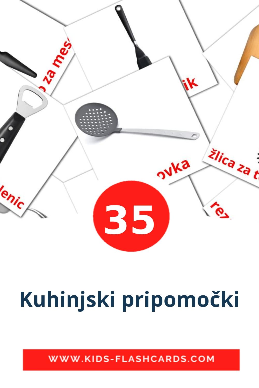 35 Kuhinjski pripomočki Picture Cards for Kindergarden in slovenian
