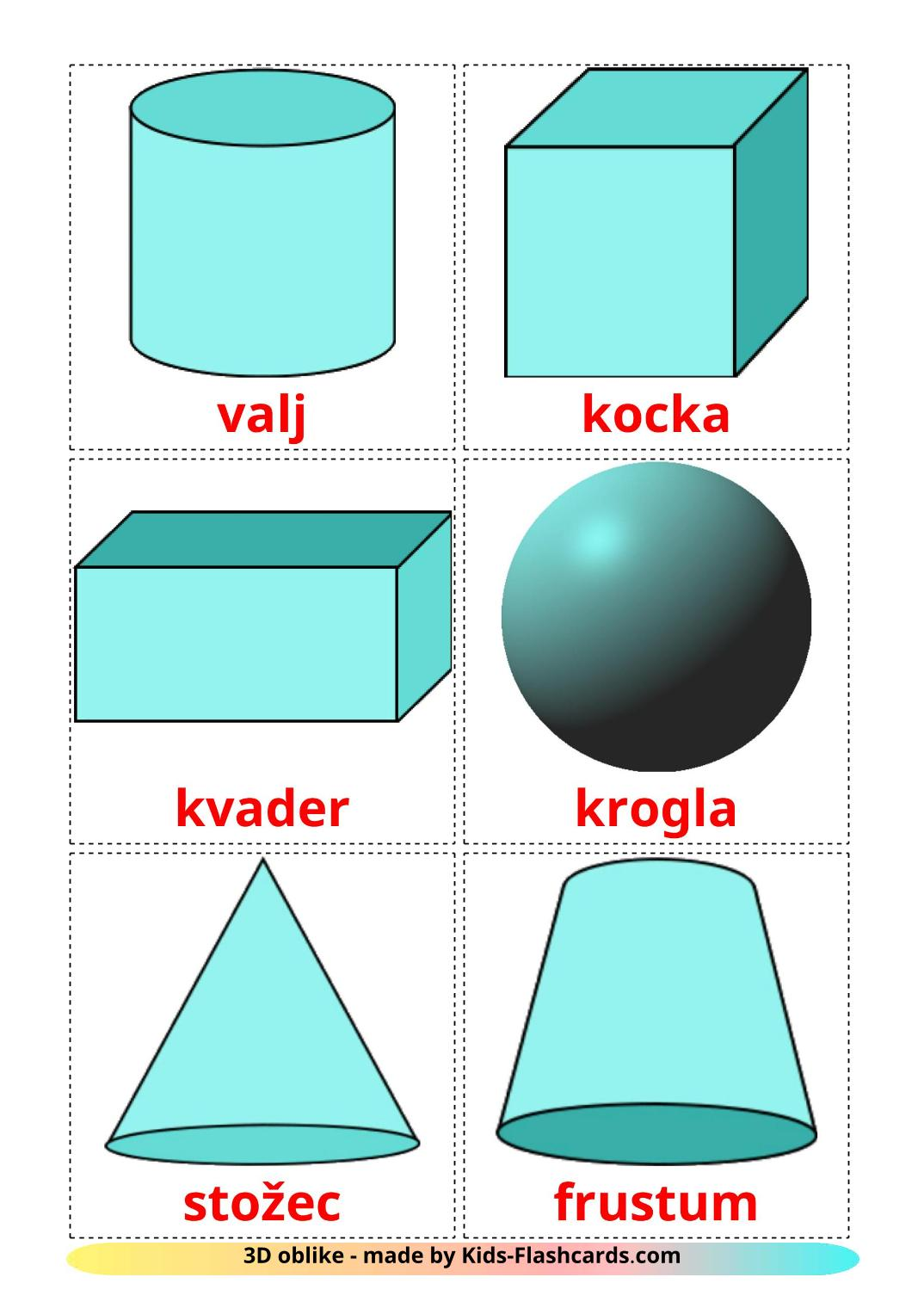 3D Shapes - 17 Free Printable slovenian Flashcards