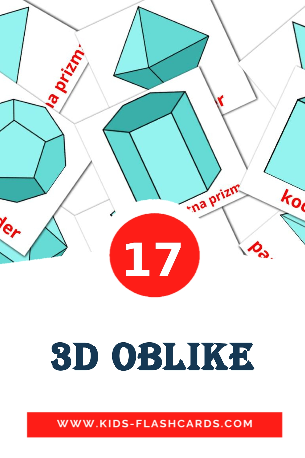17 3D oblike Picture Cards for Kindergarden in slovenian